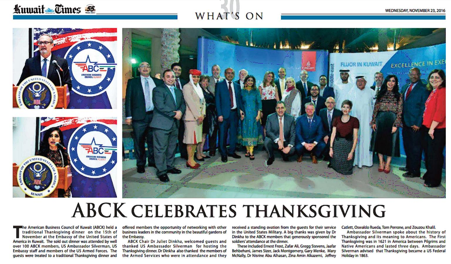 Kuwait Times Press Release Thanksgiving 2016 - American Business